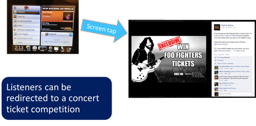 FIgure 4. This use case shows the concert ticket competition where the listener is redirected to the website to get involved.